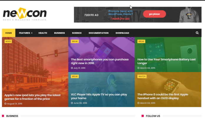 Newcon - Responsive Blogger Template free download
